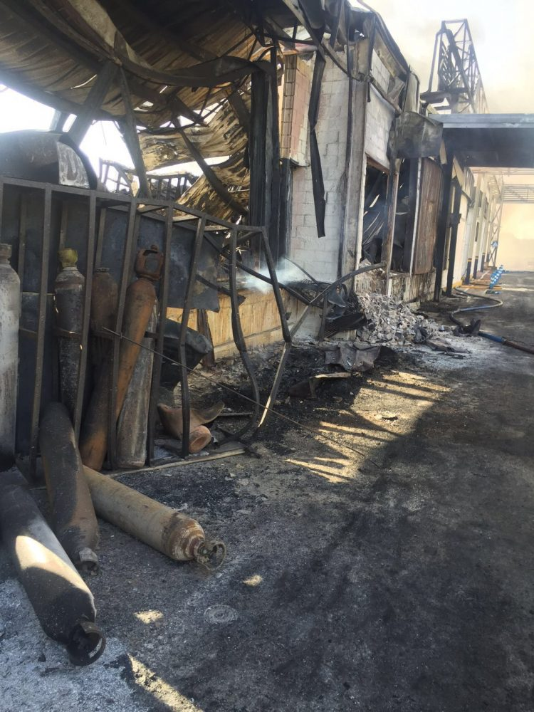 Estado en el que se encuentra la fábrica de Ybarra tras el incendio.